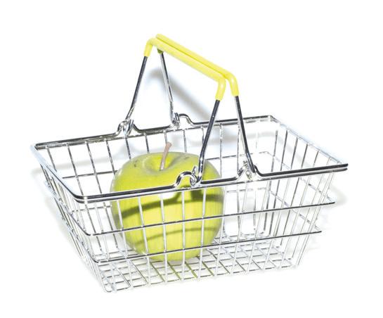 """Кошик для фруктів хромований """"Basket"""" зелений 19,5x14,5x8,3cm"""