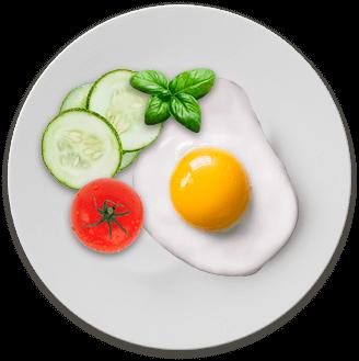 Питательный завтрак от Le Komora - яйца в нескольких вариантах приготовления c  овощами + бекон,индейка или лосось