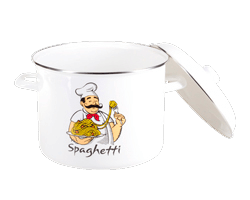 Кастрюля эмалированная с крышкой для спагетти 8л