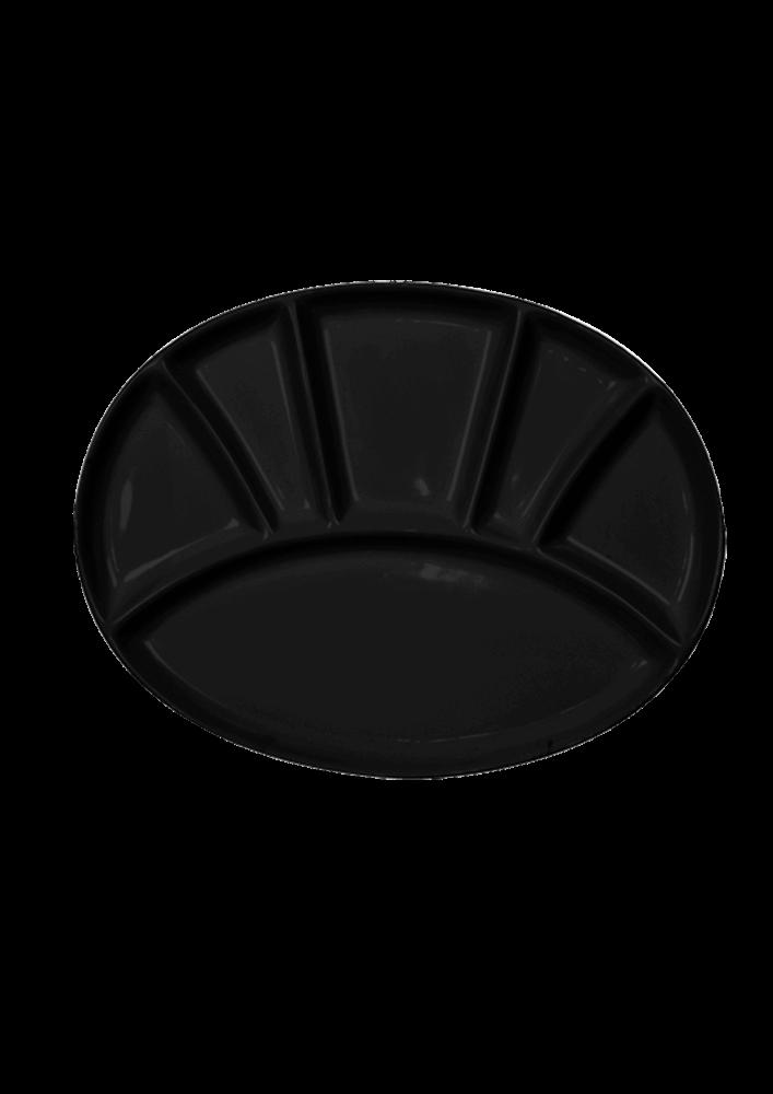 """Тарілка закусочна """"OV""""овальна,чорна"""