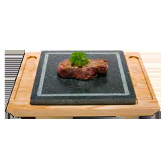 Набор горячий камень, деревянная подставка 35x30x6 см